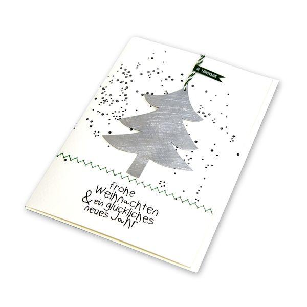 """X-mas Metallkarte """"Baum - Frohe Weihnachten & ein glückliches …"""""""