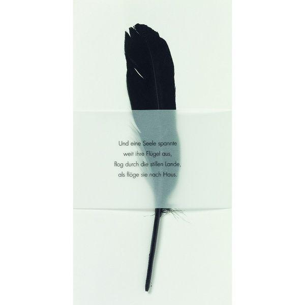 """Weiße Trauerkarte """"Und eine Seele spannte weit ihre Flügel aus,..."""