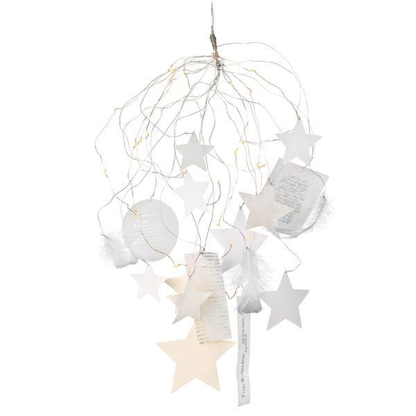 Sternenlichterschweif Silber+Weiss mit LED Lichtern