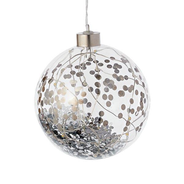 LED Lichtkugel, silber