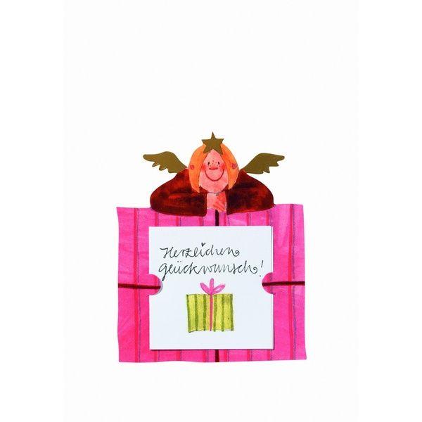 """Geschenkaufkleber Karte - """"Herzlichen Glückwunsch 2"""""""