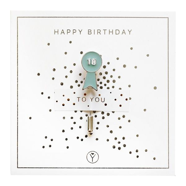 """Anstecknadel """"18 Happy Birthday"""""""