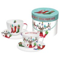 Cappucccino Tasse Geschenkbox Happy Wintertime