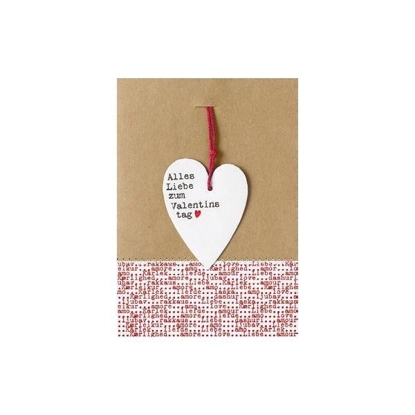 """Herzanhänger Karte """"Alles Liebe zum Valentinstag"""""""