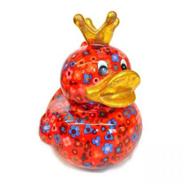 Big Ducky L - Rot mit Blumen