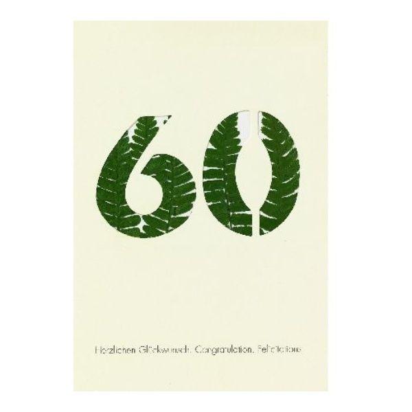"""Blumenzahlenkarte """"60 - Herzlichen Glückwunsch"""""""