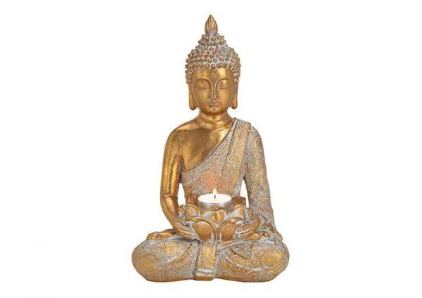 Teelichthalter Buddha gold