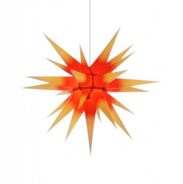 Herrnhuter Stern für Innen, Roter Kern-Gelb 70 cm