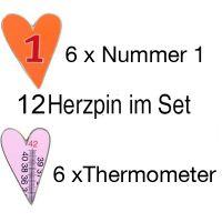 Herzpin - 12er Set  2 Motive je 6 Stück