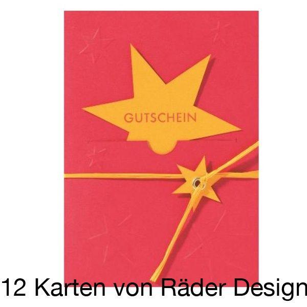 """Gutscheinpräge Karte """"Stern"""" 12er Set"""