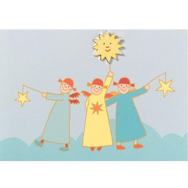 Himmlische Schwestern - Pinkarte mit Sonne