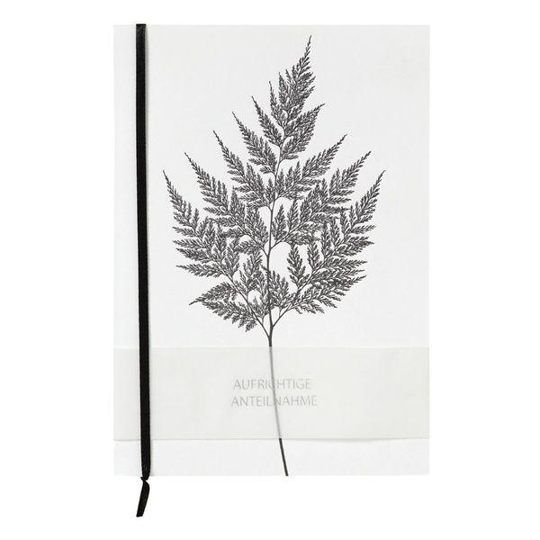 """Trauerkarte Letterpress """"Aufrichtige Anteilnahme"""" mit Farn"""
