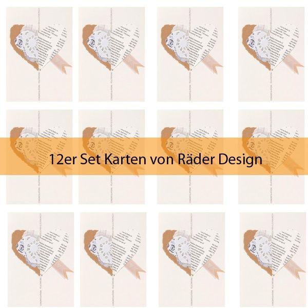 """Zeitungscollagen Karte """"Herz"""" 12er Set"""