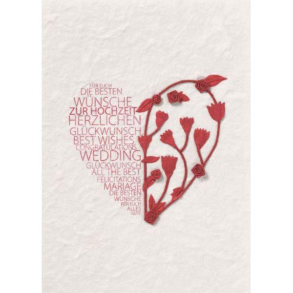 """Blütenhochzeitskarte """"Alles Liebe"""", rot"""