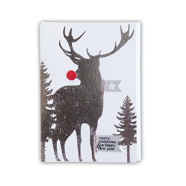 """X-mas Pompom Karte """"Merry Christmas. Hirsch"""""""