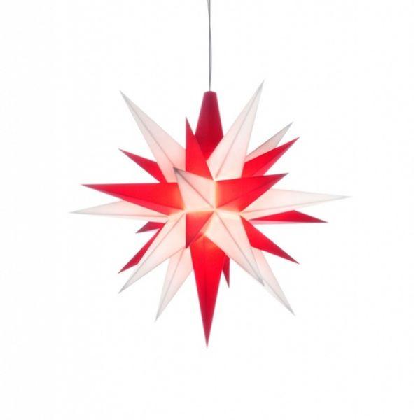 Herrnhuter Stern für Innen, Weiß-Rot 13 cm