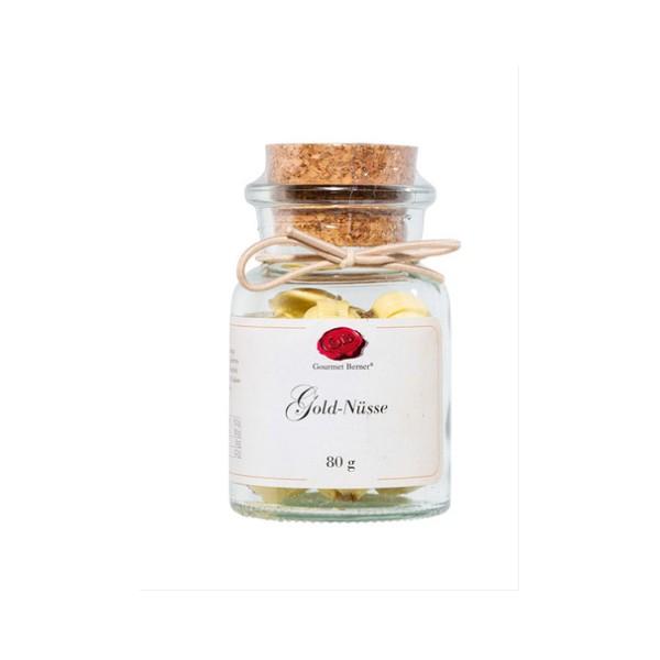 Goldnüsse 80g im Korkenglas