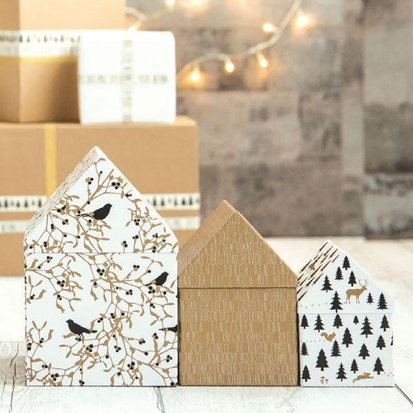 Winterwald Hausschachtel 3er Set