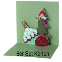 "Himmlische Schwestern Pop-Up Karte ""Motiv 1"" 6er Set"