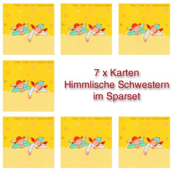 """Himmlische Schwestern - Postkarte """"Faul sein ist wunderschön"""" 7er Set"""