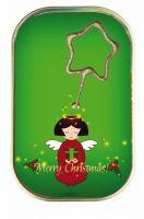 "Kuchen mit Wunderkerze ""Merry Christmas"" Engel (grün)"