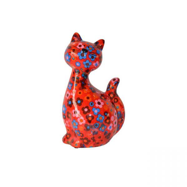 "Katze ""Caramel"" M - Rot mit Blumen"