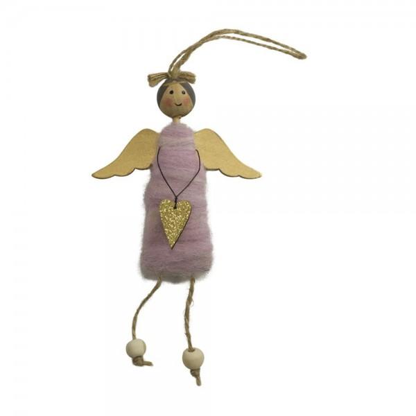 Engel-Anhänger mit Wollkleid, rosa