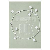 """Weiße Blütenkarte """"Zum Geburtstag viel Glück"""""""