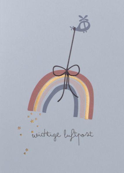 Grußpost Regenbogenkarte - Wichtige Luftpost