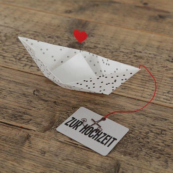 """Papierbootkarte """"Zur Hochzeit"""""""