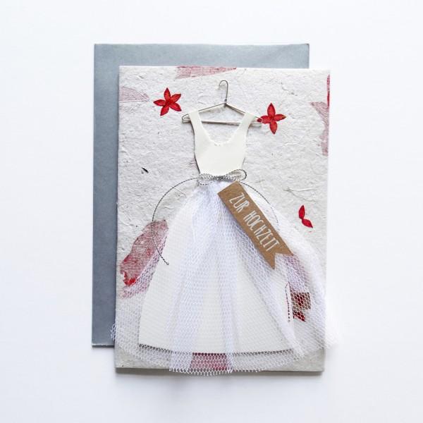 """Hochzeitskleid Karte """"Blumen"""""""