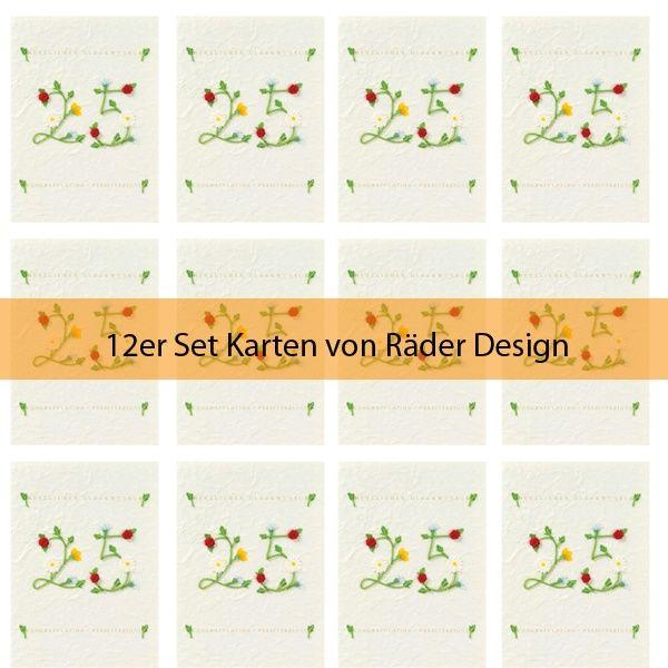 "Jubiläumskarte ""25 - Herzlichen Glückwunsch"" grün 12er Set"
