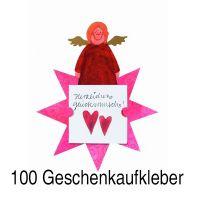 """Geschenkaufkleber Karte - """"Herzlichen Glückwunsch 1"""" 100er Set"""