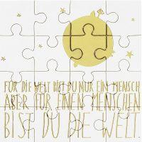 """Puzzlekarte mit Umschlag """"Für die Welt bist Du ein Mensch..."""""""
