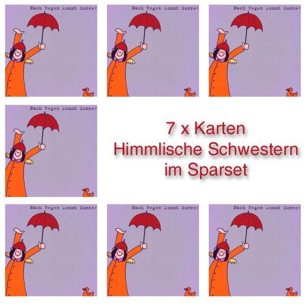 """Himmlische Schwestern - Postkarte """"Nach Regen kommt Sonne"""" 7er-Set"""