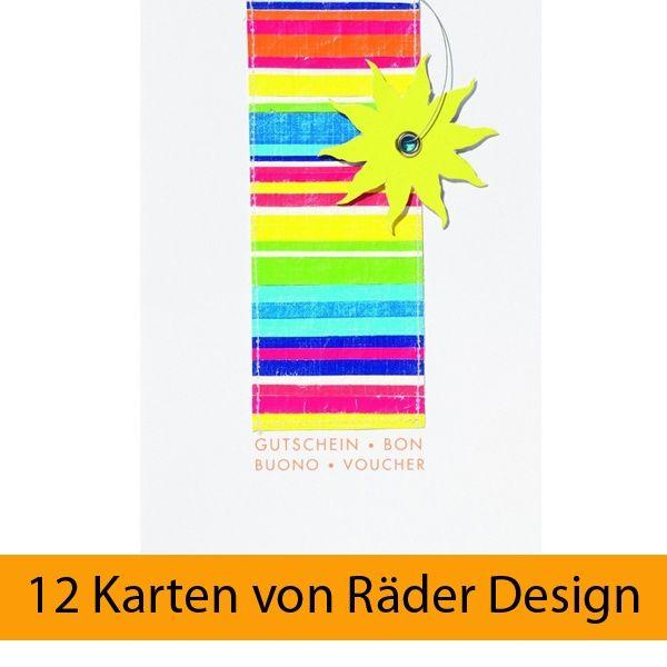 """Fancy Summer Karte - """"Gutschein"""" 12er Set"""