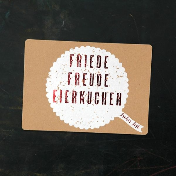 "Winter Postkarte ""Friede Freude Eierkuchen"""