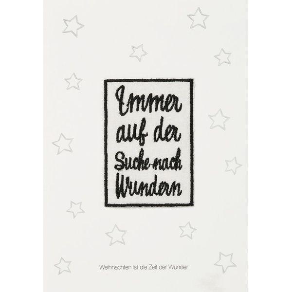 """Weihnachtsaufnäher Karte """"Immmer auf der Suche"""""""