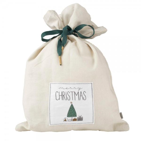 """Weihnachtssäckchen """"Merry Xmas"""", groß grau"""