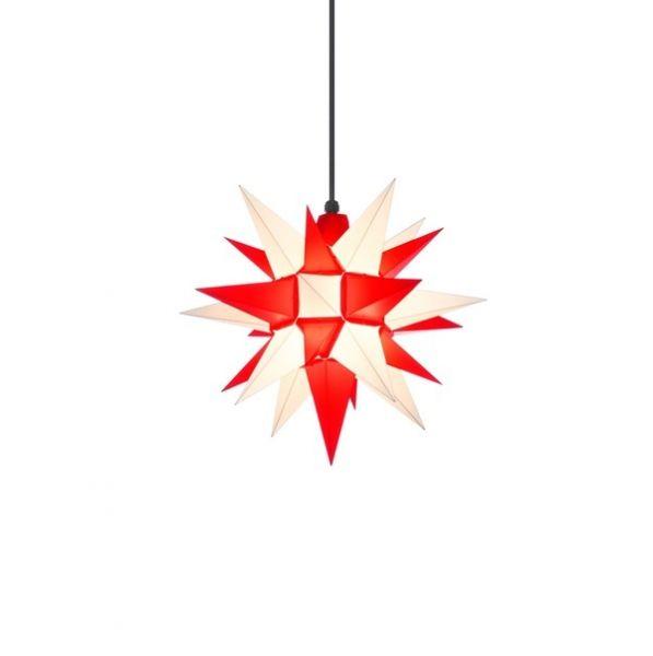 Herrnhuter Stern für Außen, A4 Weiß-Rot 40 cm