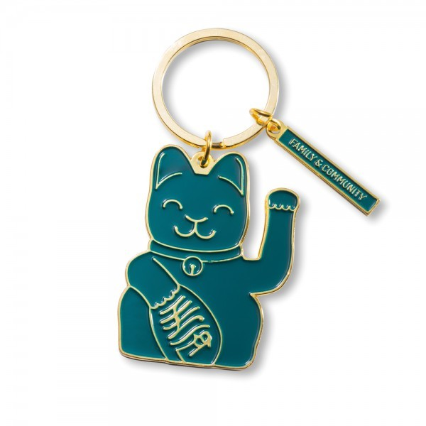 Lucky Cat Keyring, Green