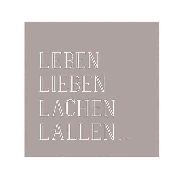 """Poesie et Table Vino Serviette """"Leben, Lieben, Lachen, Lallen"""""""
