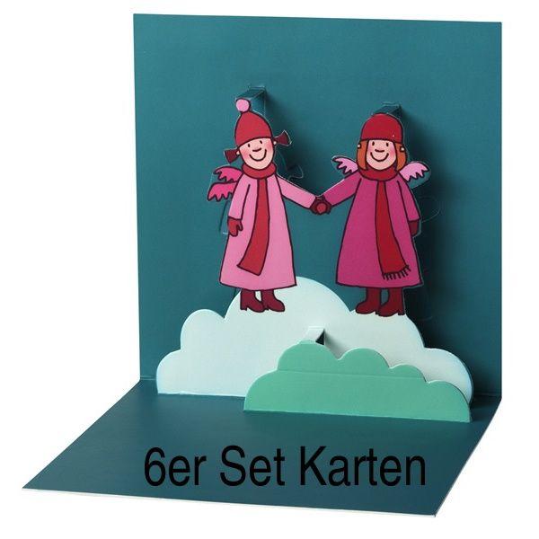 "Himmlische Schwestern Pop-Up Karte ""Motiv 2"" 6er Set"