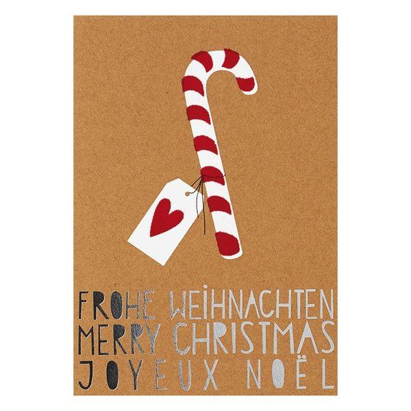 """Weihnachts Glanzstücke Karte """"Frohe Weihnachten 3-sprachig"""""""