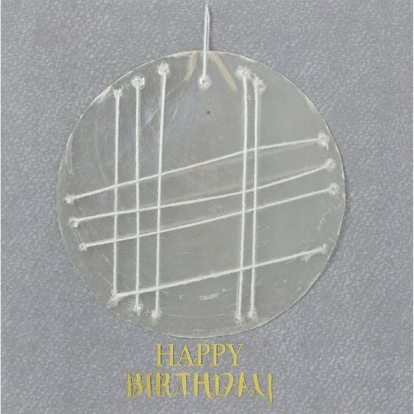 """Capiz Stick Karte """"Happy Birthday"""""""