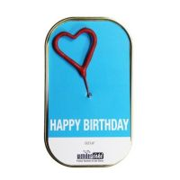 "Kuchen mit Wunderkerze ""Happy Birthday"" Blau"