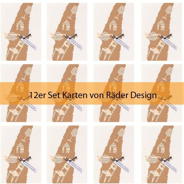 """Zeitungscollagen Karte """"Teekanne"""" 12er Set"""