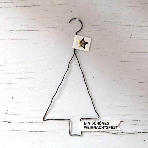 """X-Mas Draht-Ornament """"Baum - Ein schönes Weihnachtsfest"""""""