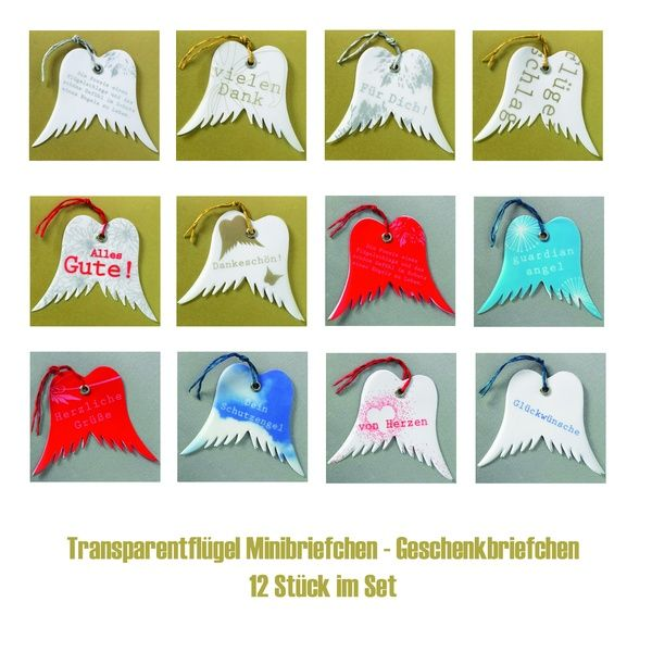 Transparentflügel Minibriefchen 12er Set