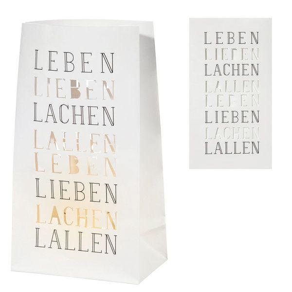 Vino Lichttüte 2er Set Leben Lieben Lachen Lallen